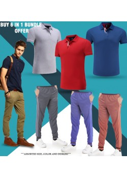 6 in 1 Bundle Offer, Polo T-shirt And Tracksuit Set Assorted Colors And Designs, PT7