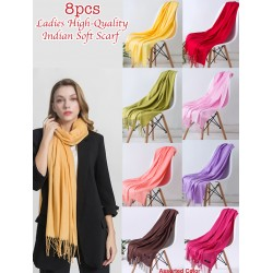 8pcs Ladies High-Quality Assorted Color Indian Soft Scarf, RM32