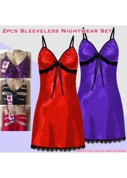 KItty Hi-Quality Women's 2pcs Sleeveless Assorted Color Nightwear Set, K458