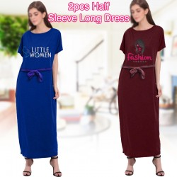 lynx Fashion Ladies Assorted Color 2pcs Half Sleeve Long Dress, LY76