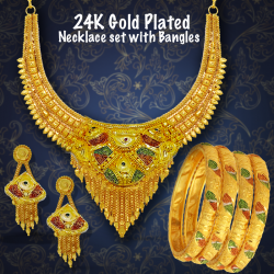 Royal Gold 22K Gold Plated Necklace Set with 4piece Bangles, RG730 - 12267