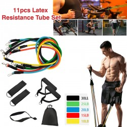 Solid 11pcs Latex Resistance Tube Set for Yoga, Fitness, Exercise, Pilates, Cross Fit, 11GY