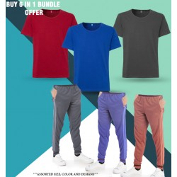 6 in 1 Bundle Offer,Unisex Universal T-Shirt And Tracksuit Set Assorted Colors And Designs, TO87