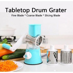 Multifunctional Tabletop Drum Grater With 3 Interchangeable Blades, DG5