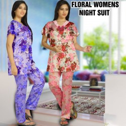2PCS Floral Womens Blend Half Sleeve Night Suit, FN8