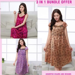 3 in 1 Bundle Offer, Women Nighty Gown Assorted Colors And Designs, G4