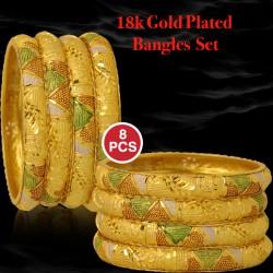 Royal Bangles 18k Gold Plated 8pcs Bangles, 8B