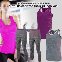 6Pcs Women's Fitness Sets Clothing Crop Top And Slim Leggings, TC34
