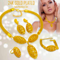 Dakkak Fashion 24K Gold Plated Indian Design Necklace Set, Earrings, Pendant, Chain And Bracelet, IN01