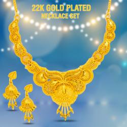 Mij 22K Gold Plated Indian Design Necklace Set, MJ02