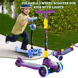 Multi Color, Fomas Foldable 3 Wheel Scooter For Kids With Lights