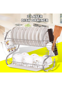 High-Quality Chrome Plated 2 Layer Dish Drainer Made Of Durable Stainless Steel, CYB878