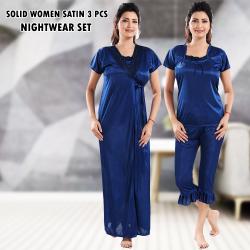 City Solid Women Satin 3 Pcs Nightwear Set (Free Size), FD01