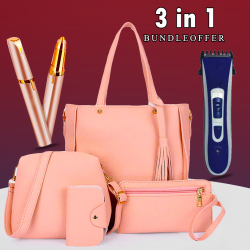 3 in 1 Bundle Offer, Ladies Fashion 4pcs Hand Bag, LBG1, Aknova Rechargeable Hair Trimmer, Flawless Eyebrow Hair Remover,11T