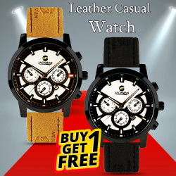 Buy 1 Get 1 Jackman Sports Leather Fashion Watch For Men, JM01