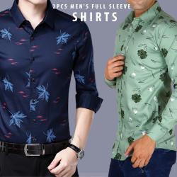 Pailiou Assorted Color & Different Printed 2pcs Men's Full Sleeve Shirts, SHR87