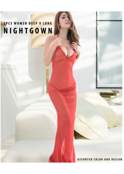 Deep V Long  Sexy Shining  Night Gown For Women, Assorted Color And Design, G8031