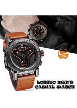 Longbo Mens Unusual Military Casual Analog Quartz Dual Time Zone Digital Waterproof Sports Quartz Watch Multifunction Leather Watch For Men, 9341