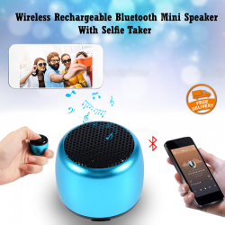 Multi-Color Coin-Sized Aluminum Wireless Rechargeable Bluetooth Mini Speaker With Selfie Taker, AMS01