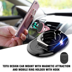 Totu Design Car Mount With Magnetic Attraction And Mobile Ring Holder With Hook, TT06