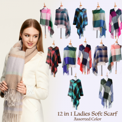 12 In 1 Ladies Soft Scarf Assorted Color, AS357