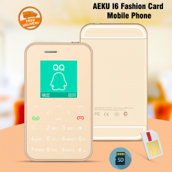 AEKU I6 Fashion Card Mobile Phone, With TF Card Support, Siver