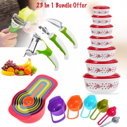 Buy 23 In 1 Bundle Offer, Triple Slicer 3 Klingen IN 1 Vegetable Cutter, Peeler, Grater And Shaving Utensil, Olimpia 14 Pcs Food Storage Container Set with Lid, 6 Pcs Spoon Set, Measuring Tools, SS654