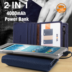 Zhuse 2-in-1 Pocket Sized 4000mAh Power Bank With Card Case For Micro USB & Lightning Devices, Zhuse21