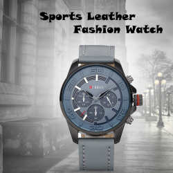 Curren Sports Leather Fashion Watch For Men, 8187