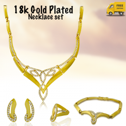 Fakhree 18K Gold Plated Long Fancy Necklace Set, 134303