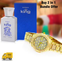 Buy 2 In 1 Bundle Offer, Walar Stainless Steel Watch For Women, Zarah king luxury perfumes, NY8889