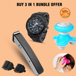Buy 3 In 1Bundle Offer, Super Deals Bazzar Store Professional Trimmer, Xinyan Apple Mini Electric Massager, Walar Stainless Steel Watch For Man, NS216