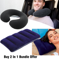 Buy 2 In 1 Bundle Offer, Intex Inflatable Travel Pillow.33cm x 25cm x 8cm, Intex Inflatable Pillow 19 cm x 13 cm x 4 cm,  68675