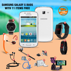 12 In 1 Bundle Offer, Samsung Galaxy S Duos S7562 R, Universal Rotating Phone Plate Holder, Portable USB LED Lamp, Zipper Stereo Wired Earphones, Ring Holder, Headphone, Mobile holder, Macra watch, Yazol watch, Selfie stick, Mp3 player, Led band watch