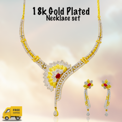 Fakhree 18K Gold Plated Flower Shape Pendant Set with Crystal Stones, 25376
