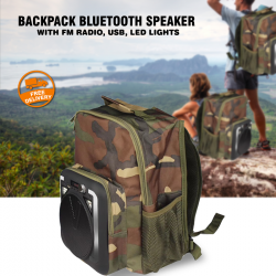Bison Backpack Bluetooth Speaker With Fm Radio,Usb,Led Lights, CH-M34