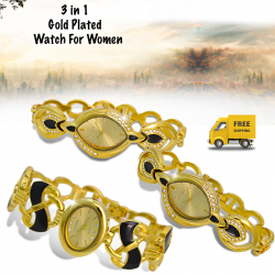 Extreme 3 Pcs Fashionable Crystal Studded Pretzel Style Semi-Bangle Analog Stainless Steel Watch For Women, EX829