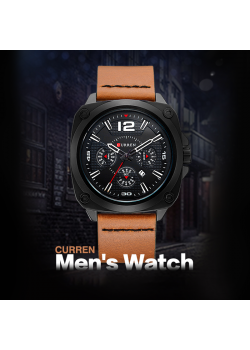Curren Sports Leather Fashion Watch For Men, 8260