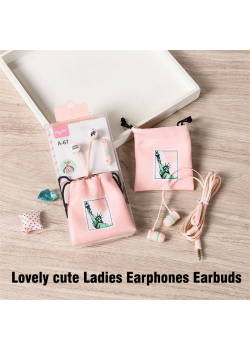 Lovely cute Ladies Earphones Earbuds 3.5mm mic, MC-87