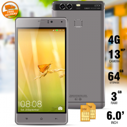 "Kailinuo K9Plus, Smartphone, 4G/LTE, Dual sim, Dual camera,6"" IPS,Finger touch,Android 6.0,3500 Mah,1.7 ghz Core,Gold"