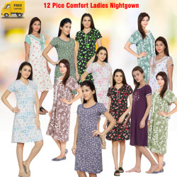 12 Pice Comfort Ladies Night Wear Women Lingerie Nightgown Assorted Color, NT5633