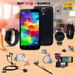 Maximum 12 In 1 Bundle Offer, Nova N9 Smartphone, Universal Rotating Phone Plate Holder, Portable USB LED Lamp, Zipper Stereo Wired Earphones, Ring Holder, Headphone, Mobile holder, Macra watch, Yazol watch, Selfie stick, Mp3 player, Led band watch