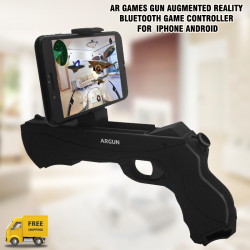AR Games Gun Augmented Reality Bluetooth Game Controller with Cell Phone Stand Holder Portable  AR Toy with  iPhone Android, AR-47