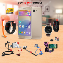 Maximum 12 In 1 Bundle Offer, H-mobile J7 prime cell phone, Universal Rotating Phone Plate Holder, Portable USB LED Lamp, Zipper Stereo Wired Earphones, Ring Holder, Headphone, Mobile holder, Macra watch, Yazol watch, Selfie stick, Mp3 player, Led watch