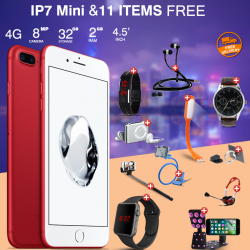 Unlimited 12 In 1 Bundle Offer, Babaosi IP7 Mini Smartphone, Universal Rotating Holder, Portable USB LED Lamp, Zipper Stereo Wired Earphones, Ring Holder, Headphone, Mobile holder, Macra watch, Yazol watch, Selfie stick, Mp3 player, Led band watch