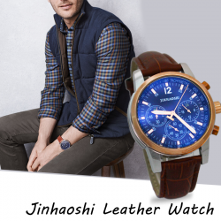 Jinhaoshi Genuine Leather Band Watch For Men, K1001