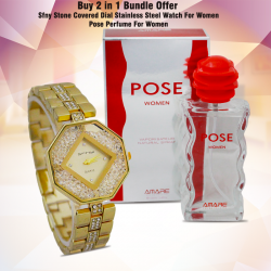 Buy 2 In 1 Bundle Offer, Sfny Stone Covered Dial Stainless Steel Watch For Women, Pose Perfume For Women, P443