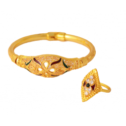 Meena 2pc 18K Gold Plated Bangles with 2 Pc Ring, 2 Pieces Bangles, G0150