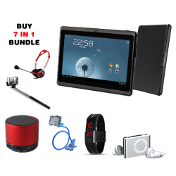 7 In 1 Bundle, Lenosed A710 Tablet 7 inch with Pouch, Mini Bluetooth Speaker, Universal LED Band Watch,  Headphone, Mobile Holder, MP3 Player, Selfie Stick