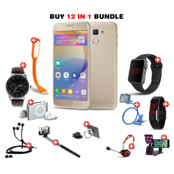 Ramadan 12 in 1 Bundle Offer, H-mobile j5 prime, Universal Rotating Phone plate Holder, Portable USB LED Lamp, Zipper Stereo Wired Earphones, Ring Holder, Headphone, Mobile holder, Macra watch, Yazol watch, Selfie stick, Mp3 player, Led band watch